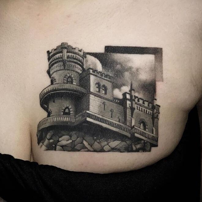 Amazing Castle Tattoo
