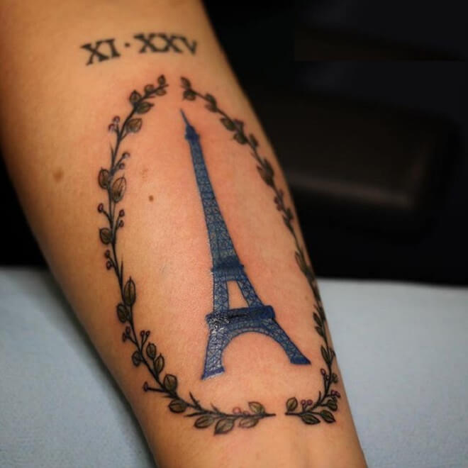 Amazing Eiffel Tower Tattoo