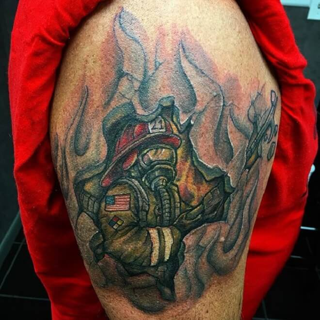 Amazing Firefighter Tattoo