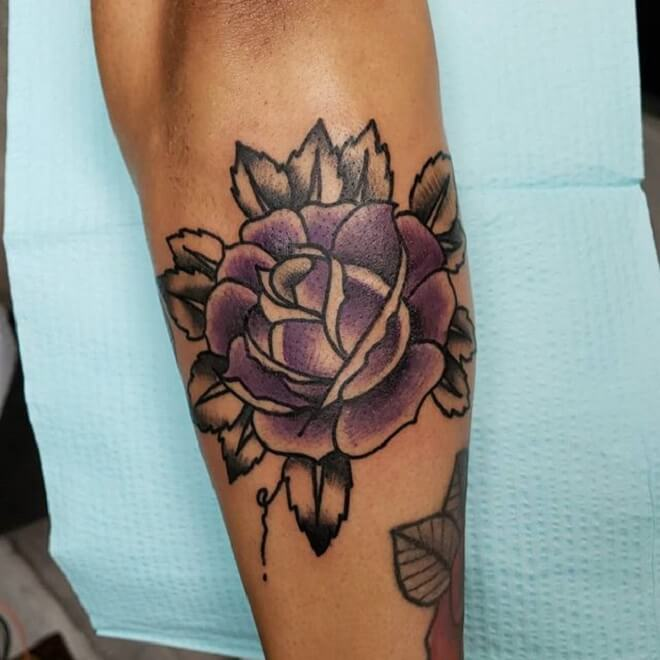 Amazing Traditional Rose Tattoo