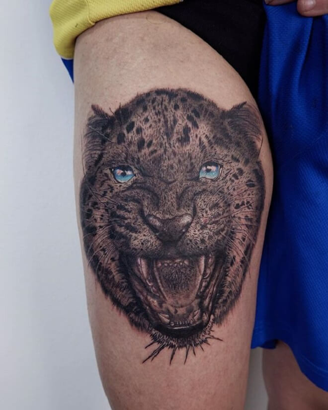 Angry Leopard Tattoo