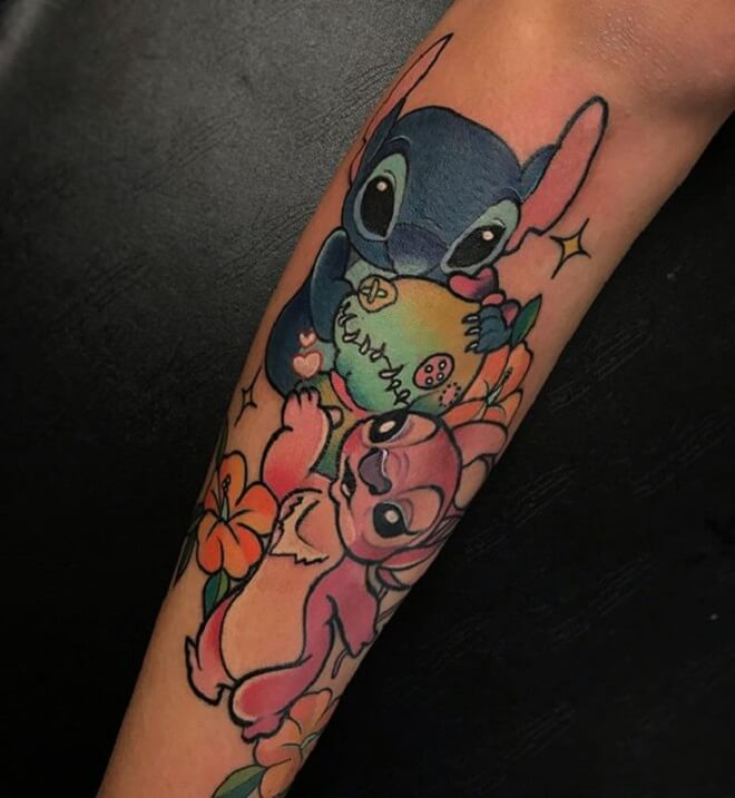 Arm Lilo and Stitch Tattoo