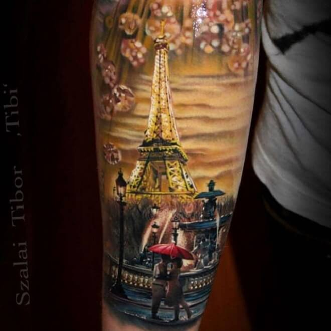 Awesome Eiffel Tower Tattoo Designs