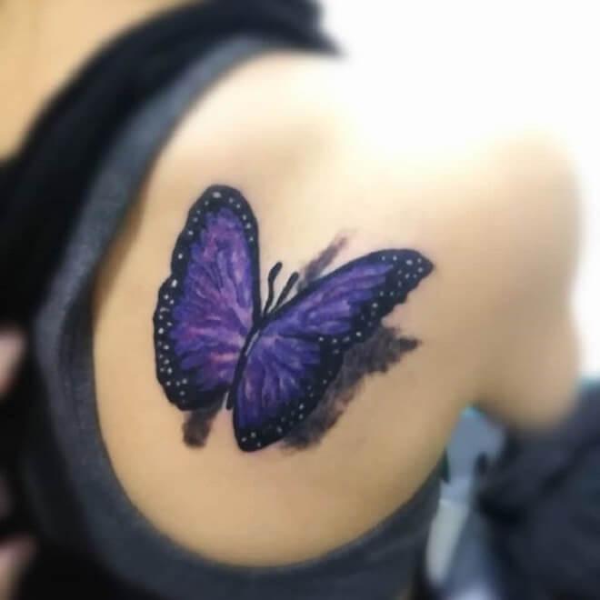 Back Purple Butterfly Tattoo