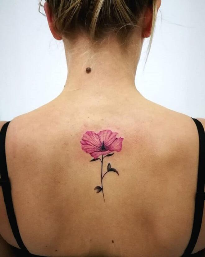 Back Side Poppy Tattoo