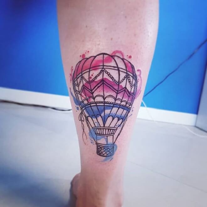 Beautiful Hot Air Balloon Tattoo