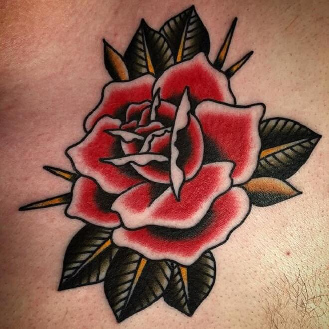 Best Traditional Rose Tattoo