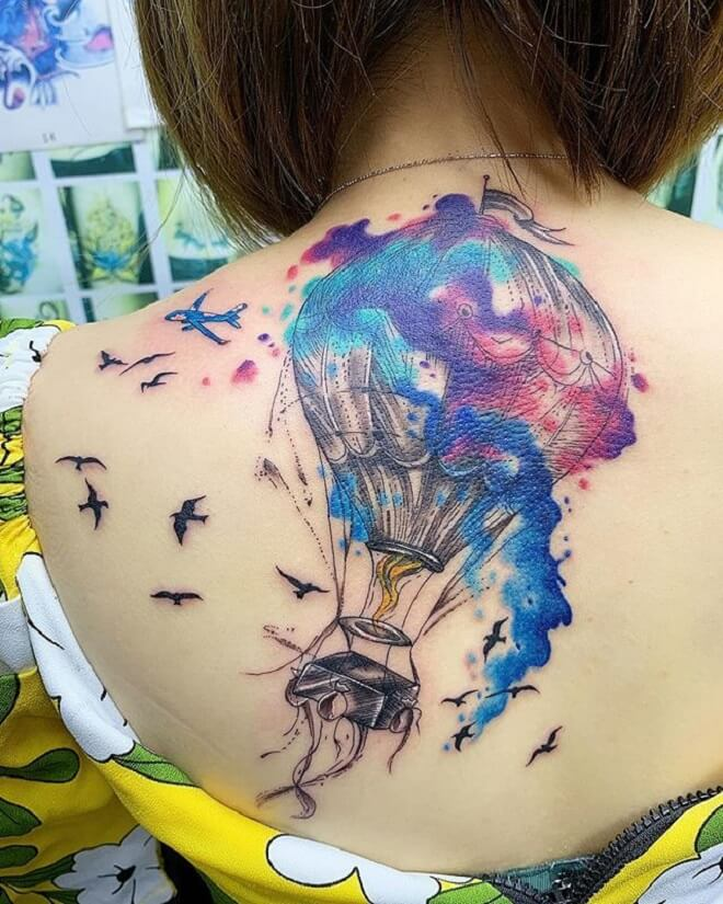 Bird Hot Air Balloon Tattoo