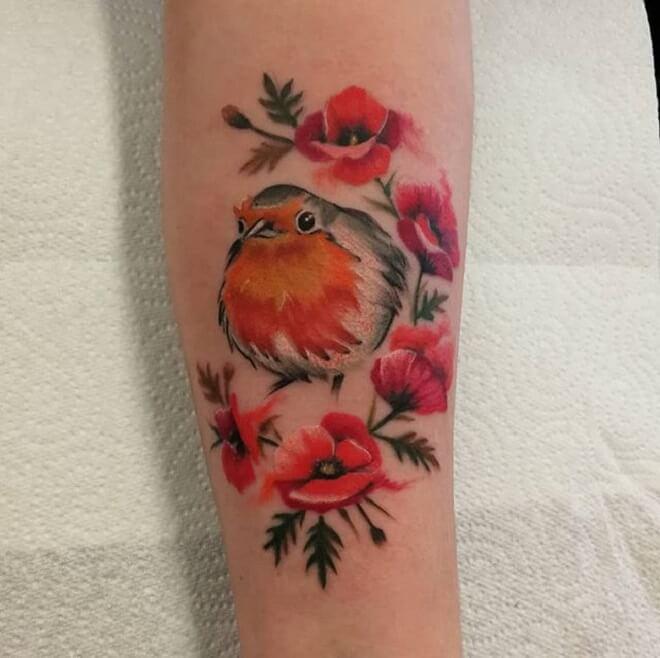 Bird Poppy Tattoo
