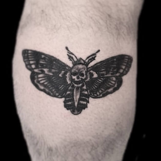 Black Death Moth Tattoo