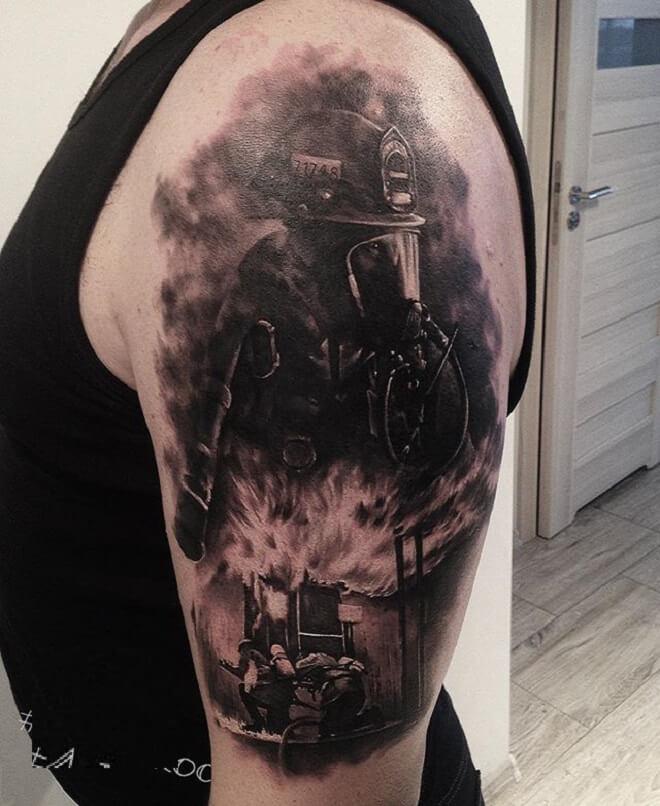 Black Firefighter Tattoo