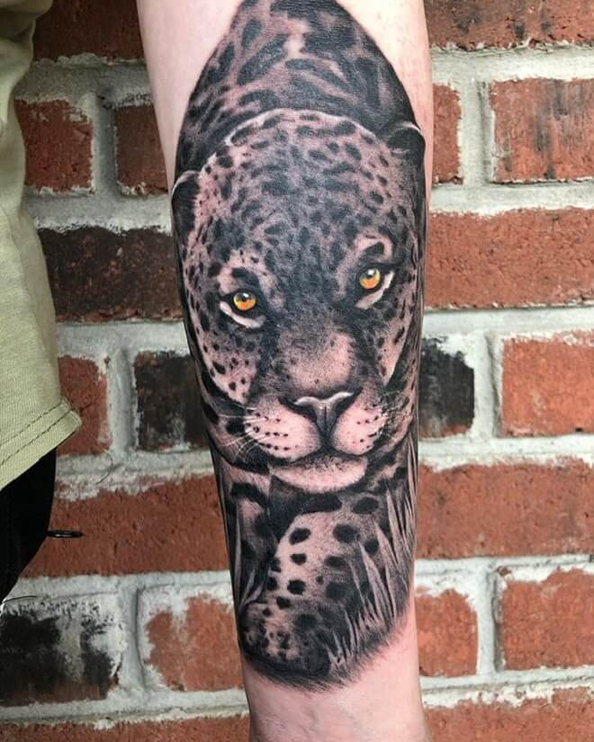 Black Grey Leopard Tattoo