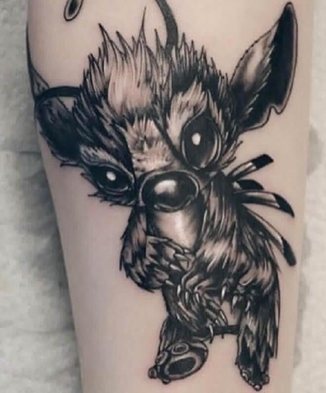 Black Lilo and Stitch Tattoo