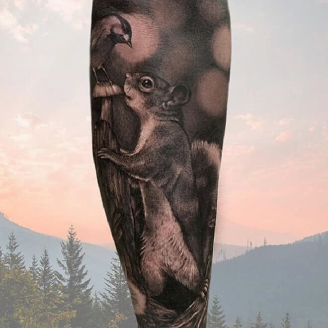 Black Squirrel Tattoo
