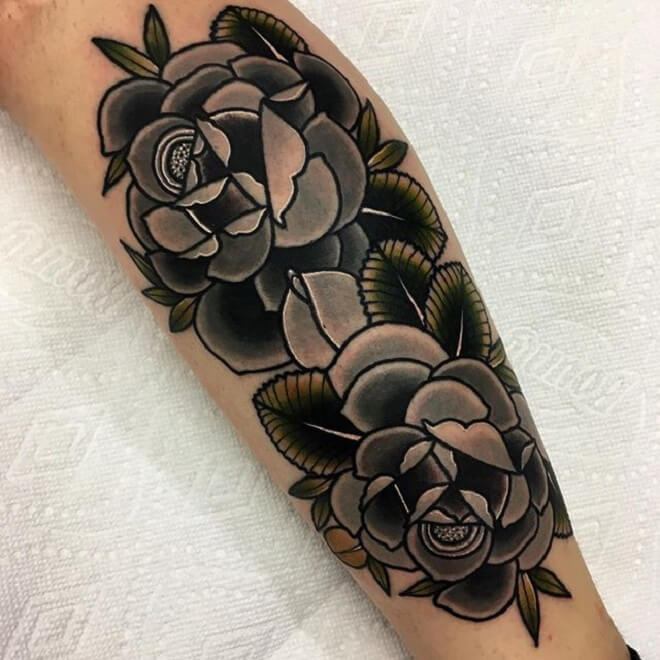 Black Traditional Rose Tattoo