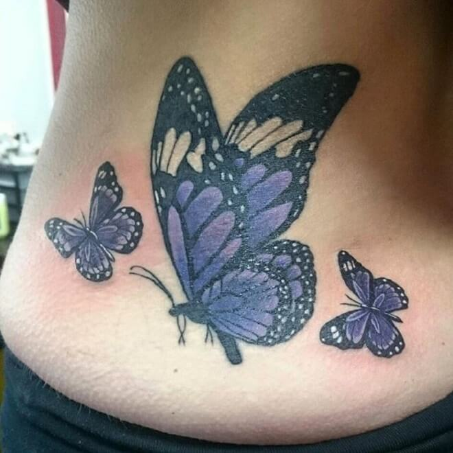 Black and Blue Purple Butterfly Tattoo