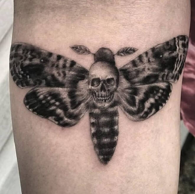 Black and Grey Death Moth Tattoo