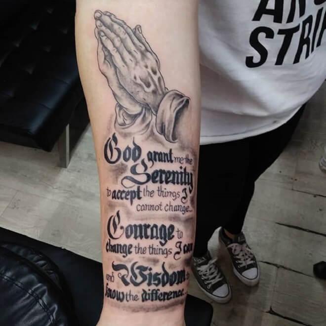 Blessed Serenity Prayer Tattoo