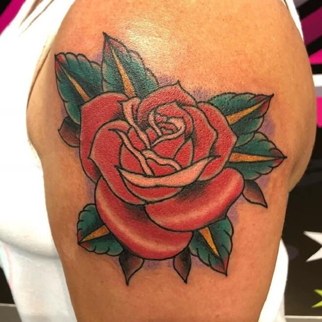 Body Traditional Rose Tattoo