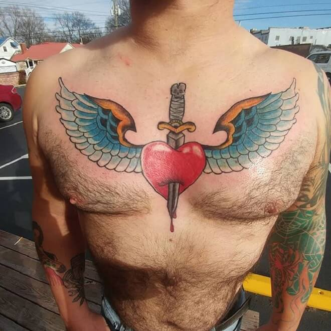 Boy Heart with Wings Tattoo