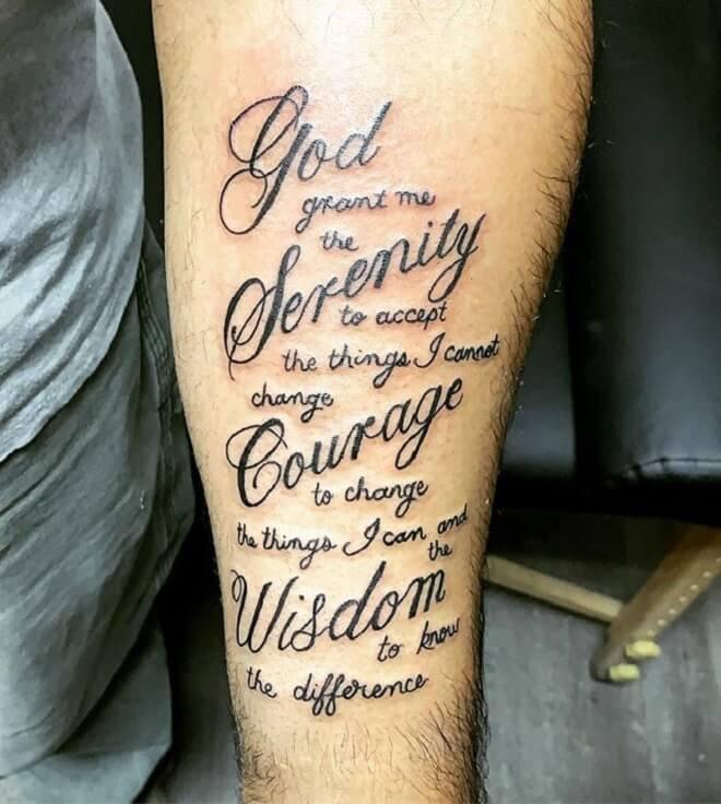 Boy Serenity Prayer Tattoo