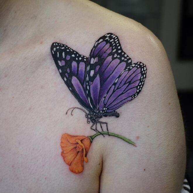 Butterfly Poppy Tattoo
