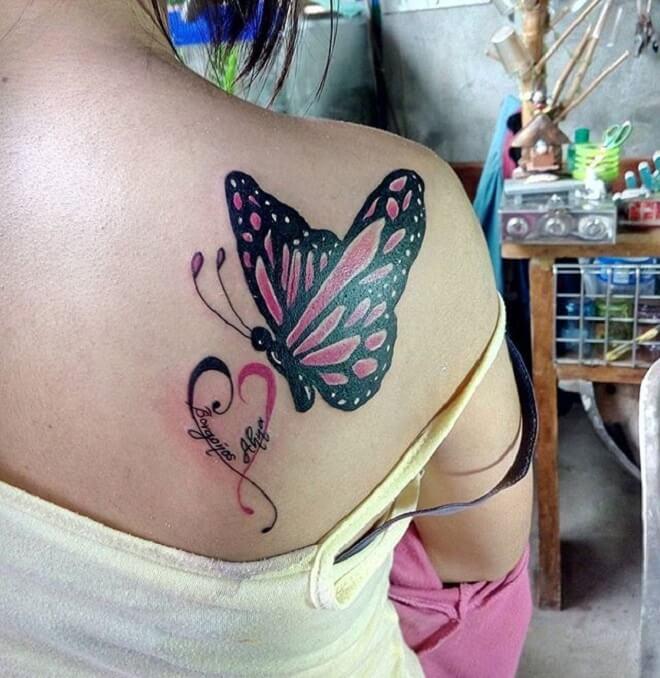 Butterfly Upper Back Tattoo
