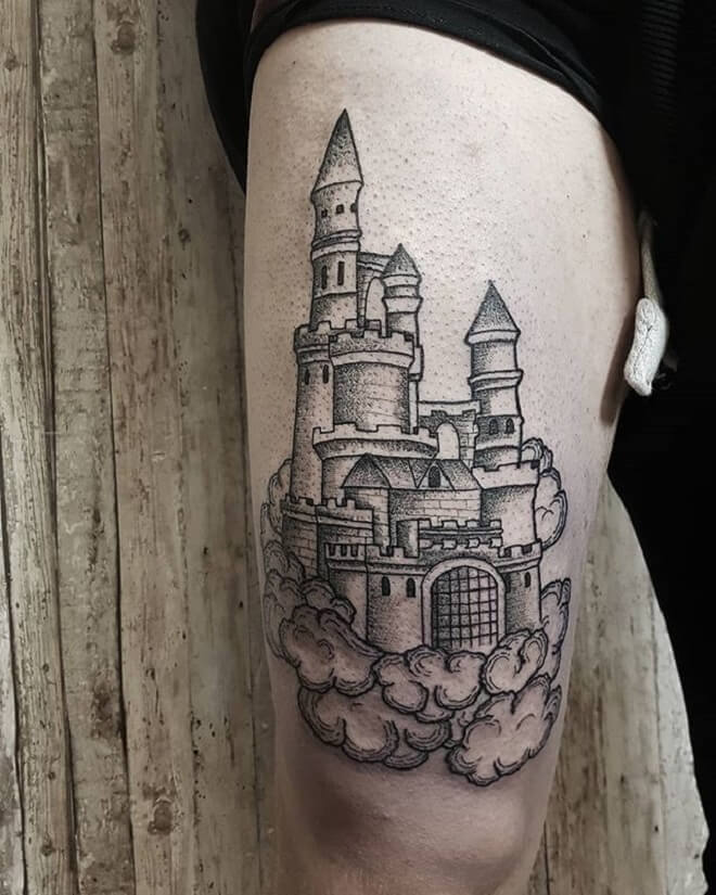Castle Dot Work Tattoo