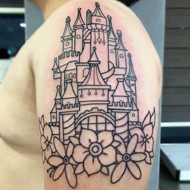 Castle Line Work Tattoo