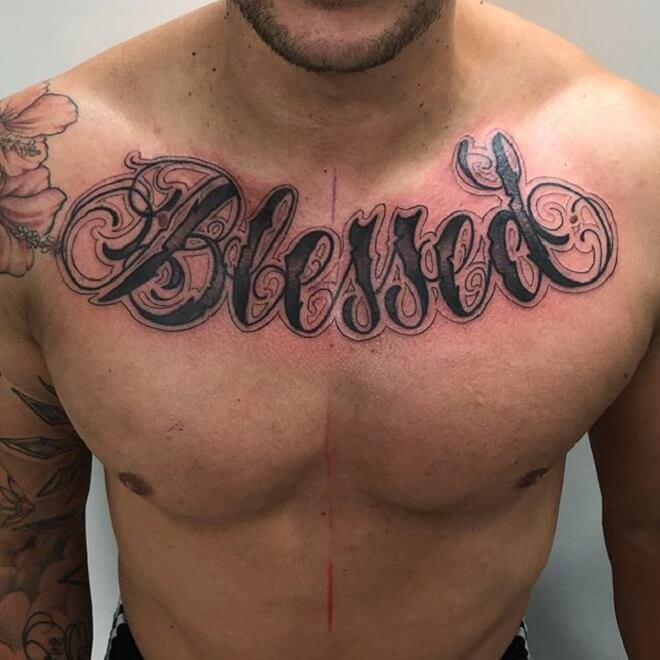 Chest Blessed Tattoo