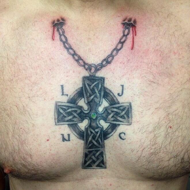 Chest Celtic Cross Tattoo