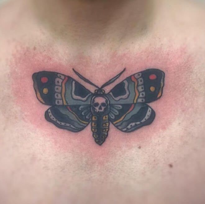 Chest Death Moth Tattoo