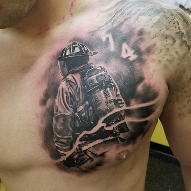 Chest Firefighter Tattoo