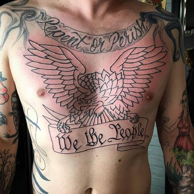Chest Patriotic Tattoo