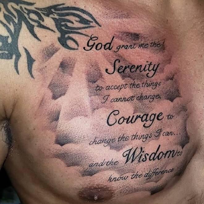 Chest Serenity Prayer Tattoo