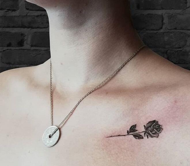 Chest Small Flower Tattoo