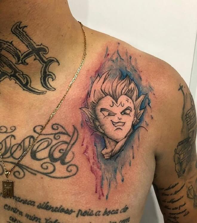 Chest Vegeta Tattoo