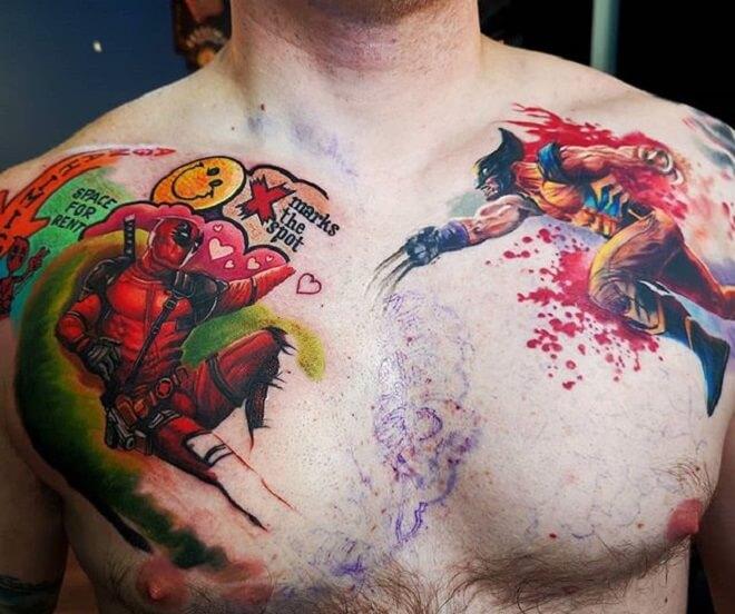 Chest Wolverine Tattoo