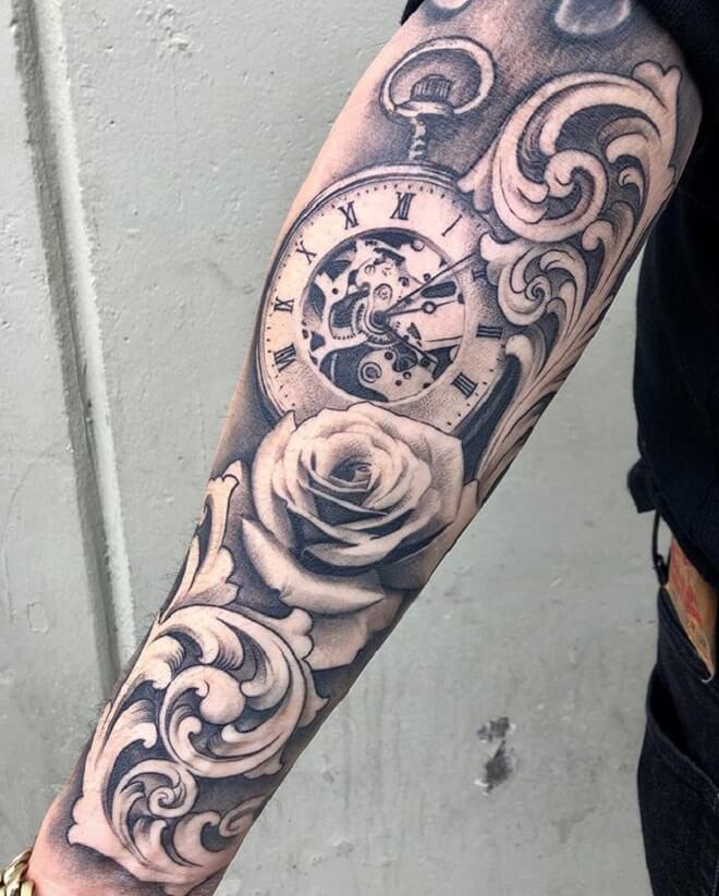 Clock Filigree Tattoo