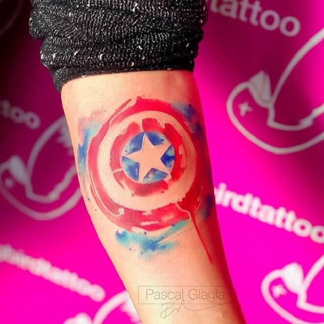 Color Captain America Tattoo