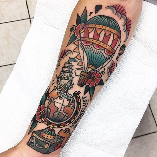Color Hot Air Balloon Tattoo