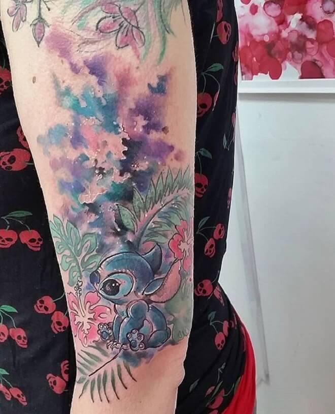 Color Lilo and Stitch Tattoo