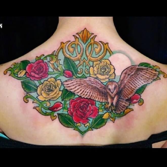 Color Upper Back Tattoo
