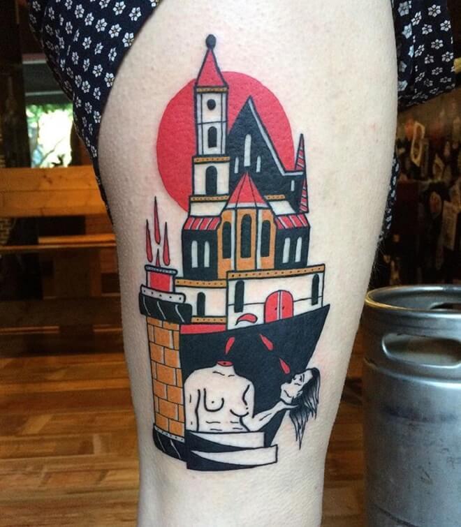 Colorful Castle Tattoo