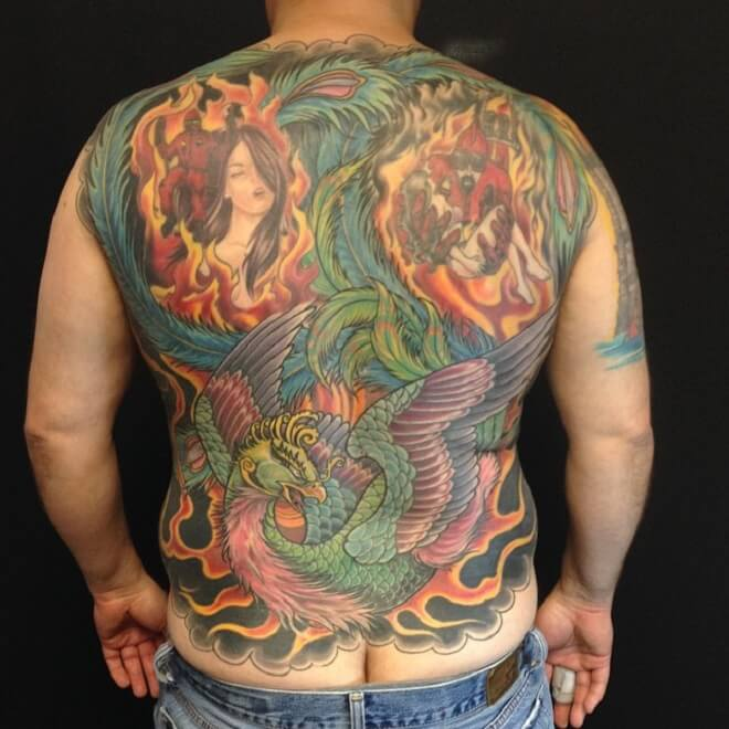 Colorful Firefighter Tattoo