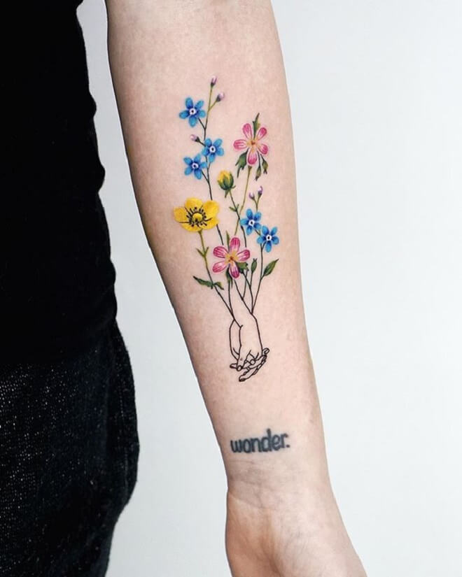 Colorful Forget Me Not Tattoo