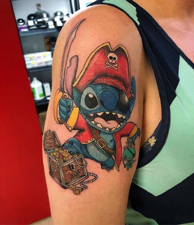 Colorful Lilo and Stitch Tattoo