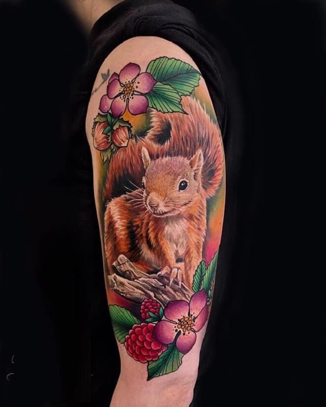 Colorful Squirrel Tattoo