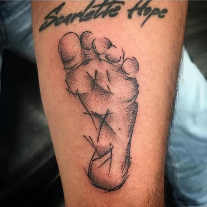 Corona Footprint Tattoo