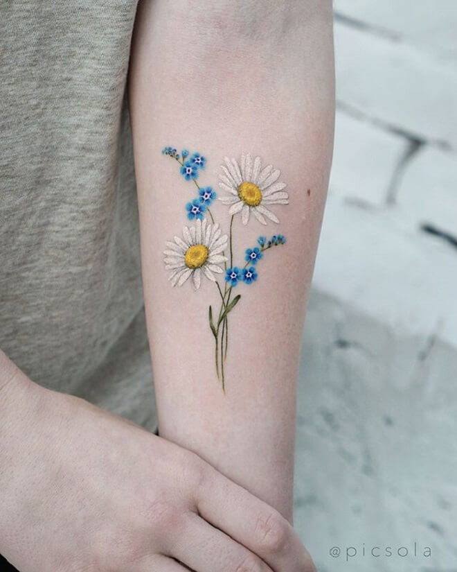 Daisy Forget Me Not Tattoo